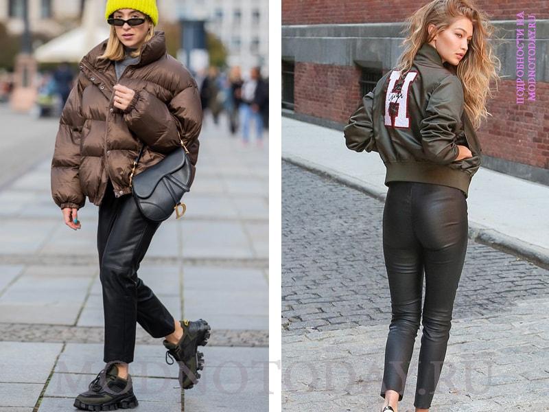 Кожаные брюки с пуховиком