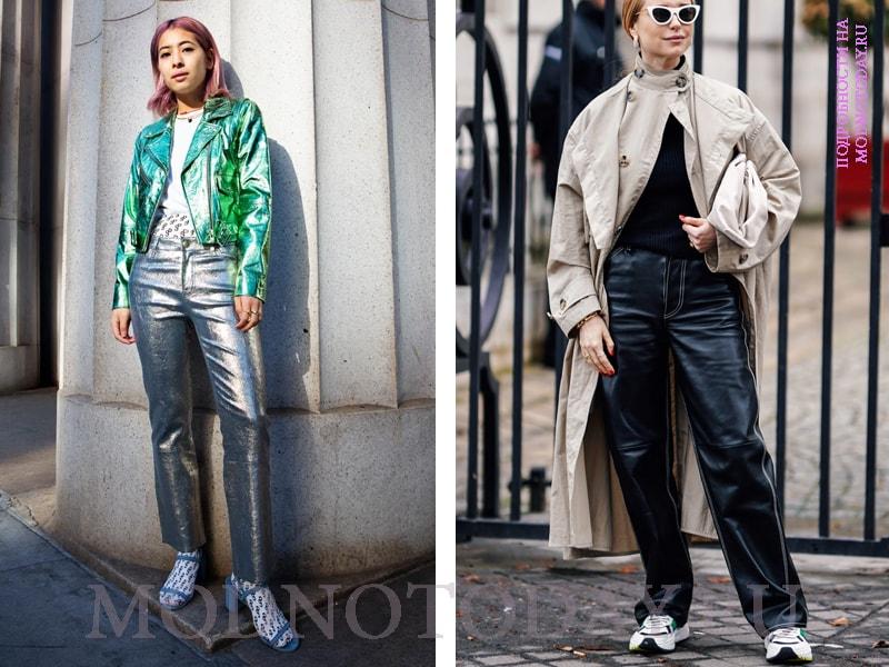 Молодежные образы с кожаными брюками