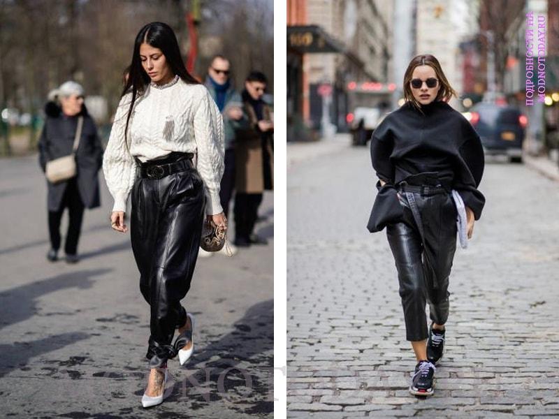 Кожаные брюки со свитером
