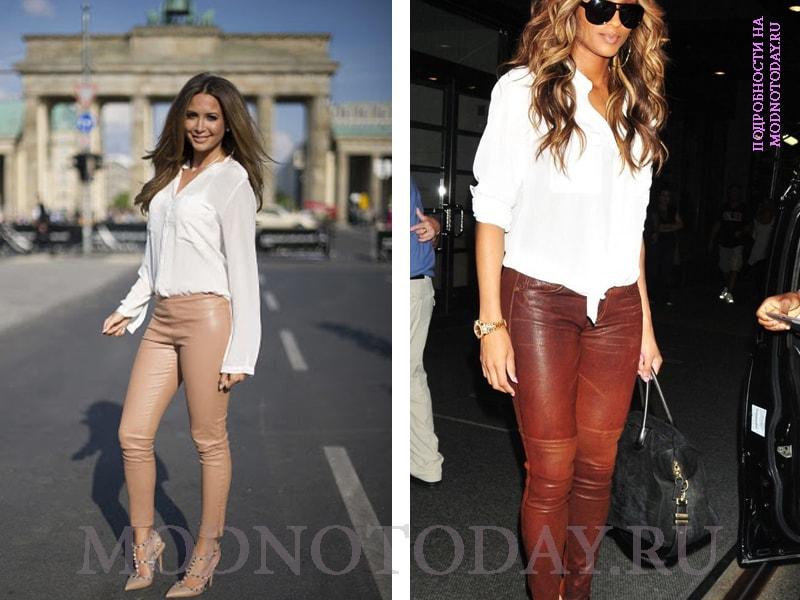 Женские кожаные брюки с рубашкой