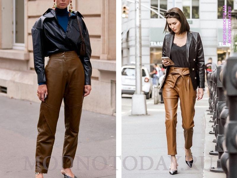 Кожаные брюки с кожаным пиджаком