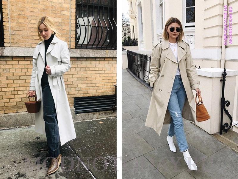 Женское пальто с джинсами и сапогами