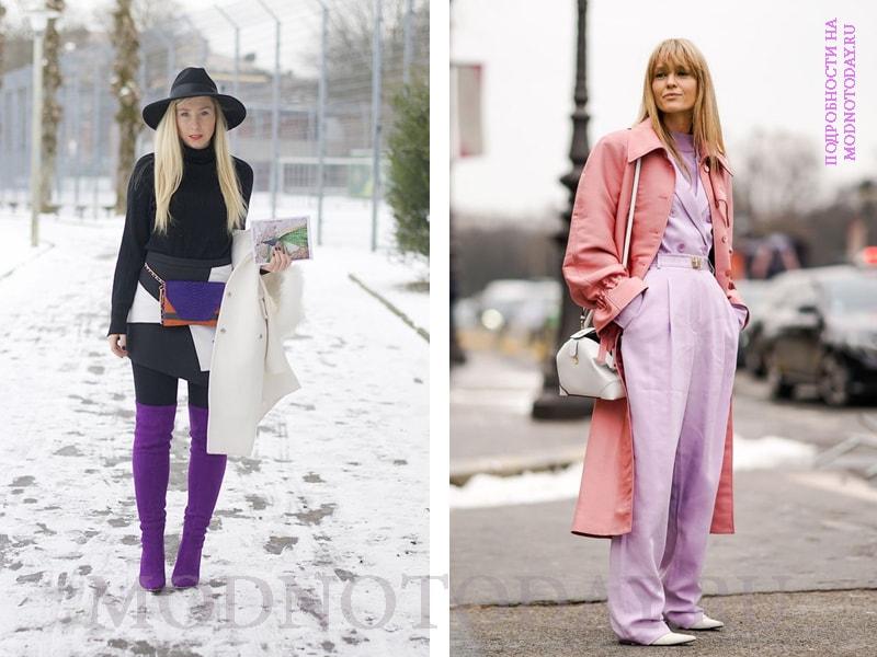 Сочетание розового и фиолетового в образе с пальто