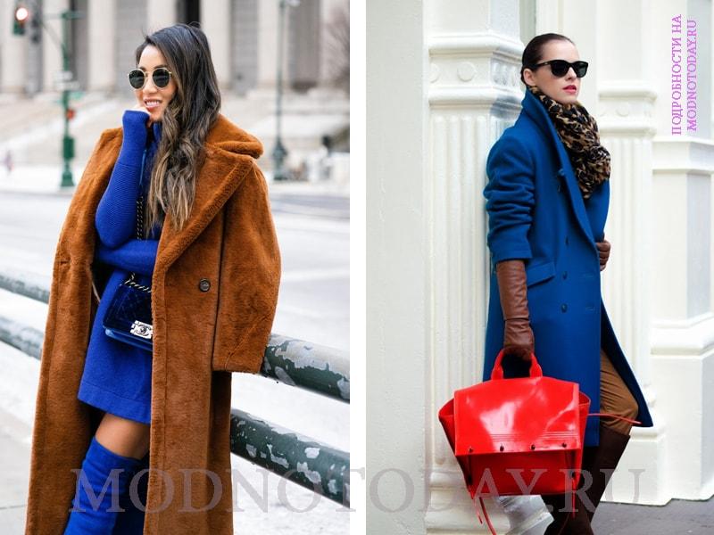 Сочетание синего и коричневого в образе с пальто и сапогами