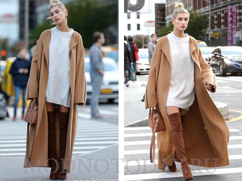Длинное пальто с коротким платьем и высокими сапогами-чулками