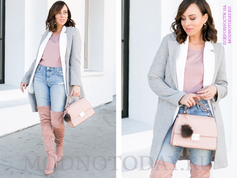 Пальто с сапогами-чулками и джинсами-скинни