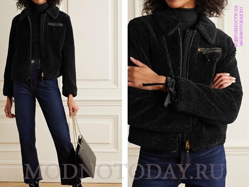 Образ с черным зимним пальто и джинсами