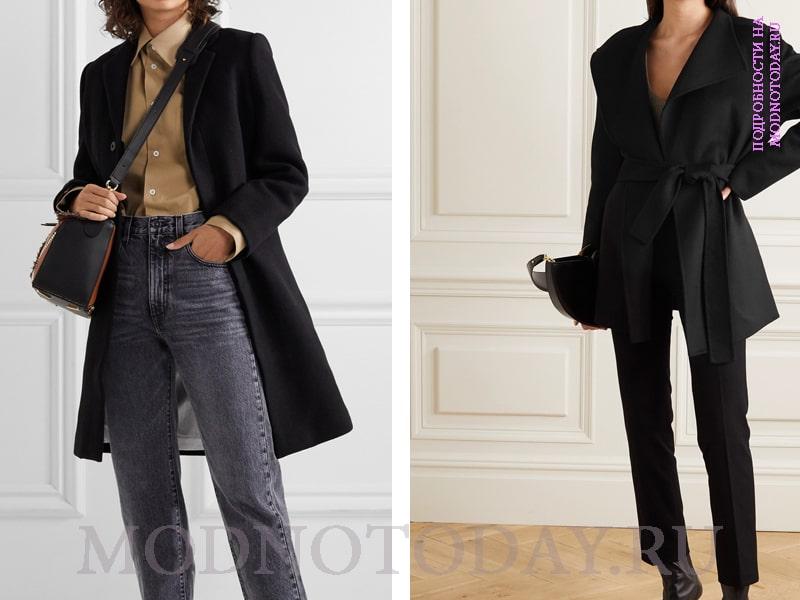 Образ с серыми джинсами и черным классическим пальто