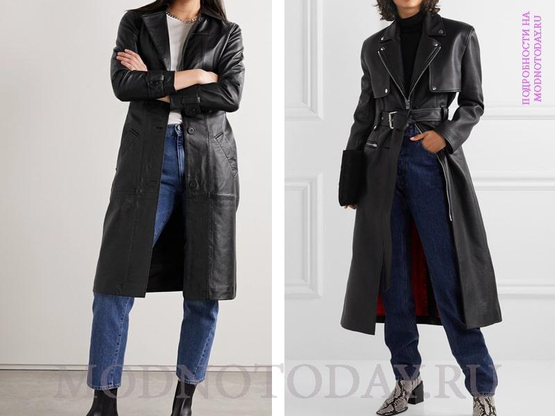 Образы с черным кожаным пальто и простыми джинсами
