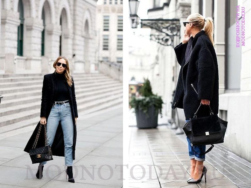 Длинное и укороченное пальто в сочетании с джинсами