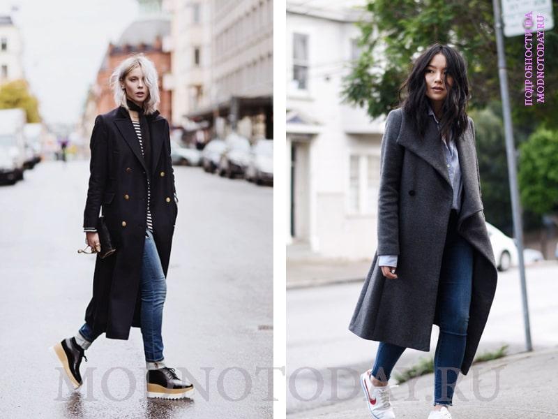 Спортивный образ с джинсами и пальто