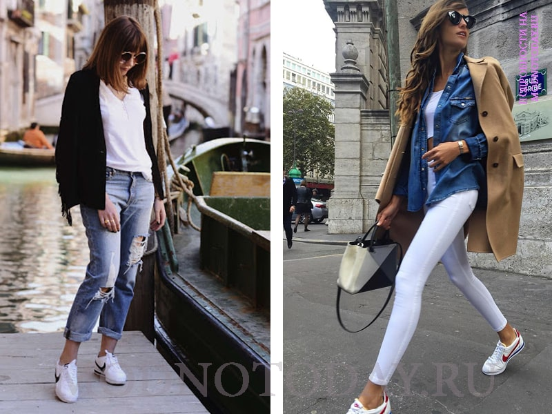Женский лук с рваными и белыми джинсами
