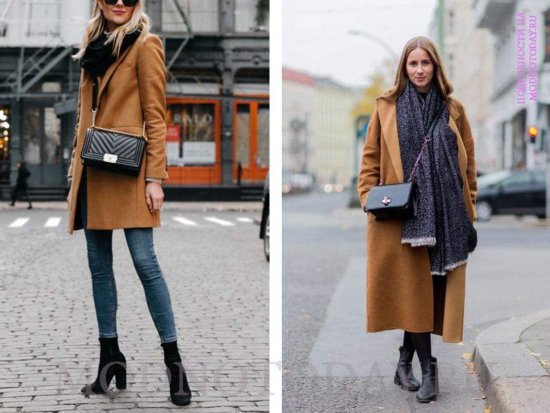 Образ с длинным пальто цвета камел