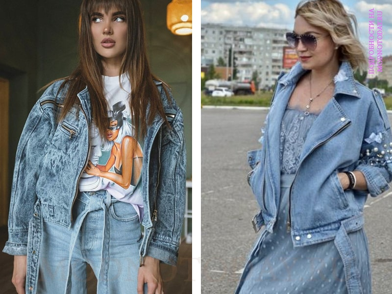 На фото джинсовая косуха для женщин
