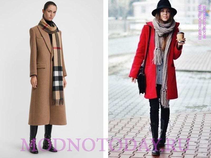 Клетчатый шарф к пальто