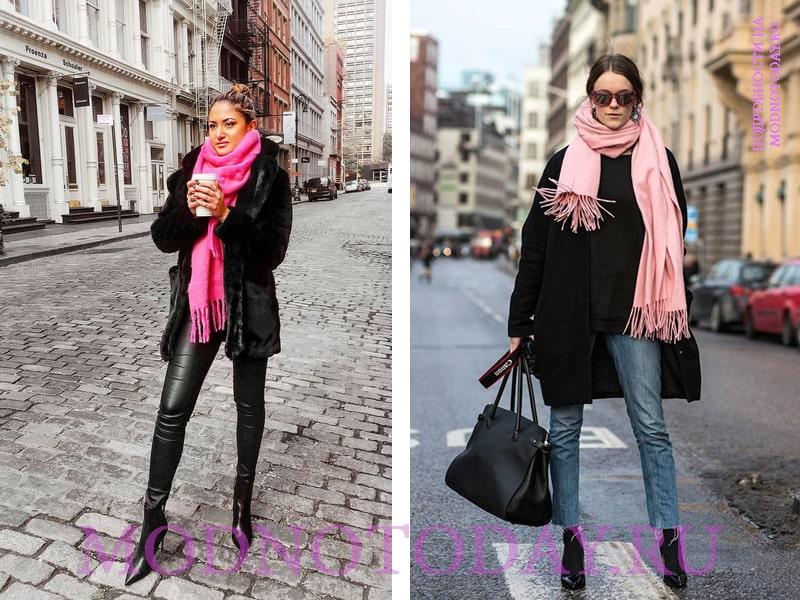 Розовый шарф и черное пальто