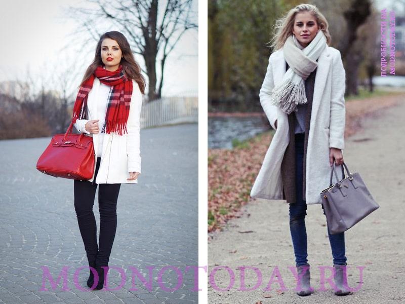 Вариант шарфа к пальто белого цвета