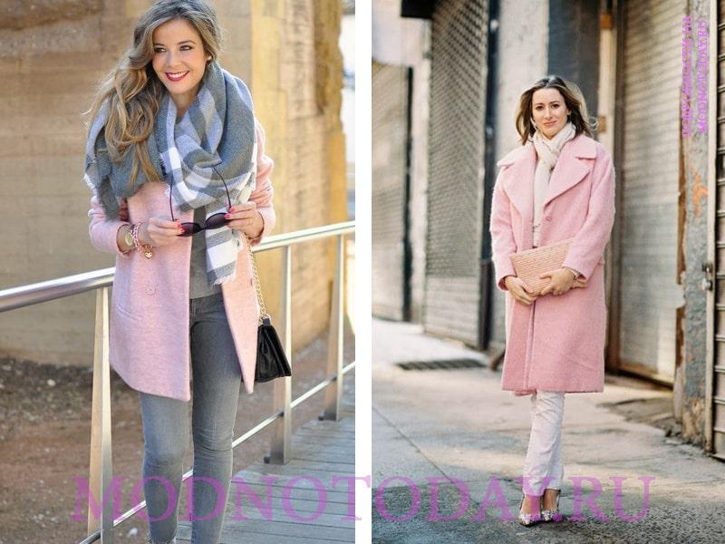 Серый шарф и розовое пальто - образ на фото