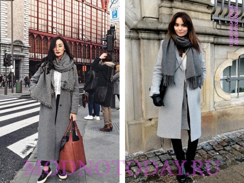 Серый шарф и серое пальто